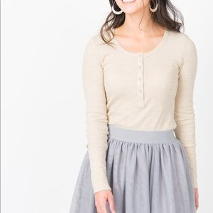 Henley Thermal Top- Oatmeal